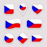 Ensemble tchèque de vecteur de drapeau Collection d'autocollants de drapeaux nationaux de République Tchèque Icônes géométriques  Illustration de Vecteur