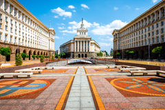 Ensemble of three Socialist Classicism edifices in. An architectural ensemble of three Socialist Classicism edifices in central Sofia, the capital of Bulgaria Royalty Free Stock Photography