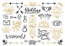 Ensemble tiré de mariage de lauriers, d'anneaux, de fleurs, de coeurs etc. Économies manuscrites de collection d'expressions de v illustration de vecteur