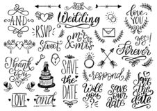 Ensemble tiré de mariage de lauriers, d'anneaux, de fleurs, de coeurs etc. Collection manuscrite d'expressions de vecteur faire g illustration libre de droits