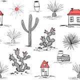 Ensemble tiré par la main avec le cactus vert et les maisons mexicaines Saguaro, agave bleu, soleil, maisons, et pots Latino-amér Image libre de droits