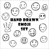 Ensemble tiré par la main d'émoticônes, icônes souriantes d'emoji illustration stock