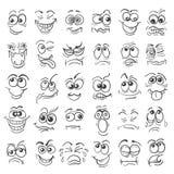 Ensemble tiré par la main d'émotion de visages de bande dessinée de griffonnage illustration de vecteur
