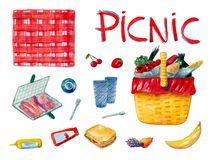 Ensemble tiré par la main d'aquarelle comprenant la nourriture différente pour le petit déjeuner sur le pique-nique sur le fond b illustration stock