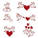 Ensemble tiré par la main d'aquarelle de pigeons d'amour Image libre de droits