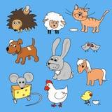 Ensemble tiré par la main d'icône d'illustration de vecteur de bande dessinée drôle d'animaux Images stock