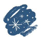 Ensemble tiré par la main d'icônes de vecteur de flocons de neige, calomnie de brosse Thème de l'hiver illustration libre de droits