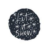 Ensemble tiré par la main d'icônes de vecteur de flocons de neige, calomnie de brosse Thème de l'hiver illustration stock