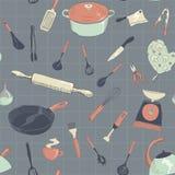 Ensemble tiré par la main d'icône de cuisine de vecteur illustration libre de droits