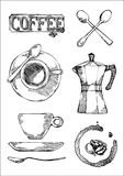 Ensemble tiré par la main d'icône de signe de café, tasse, pot, pour le menu de cafétéria ou le signe Photo stock
