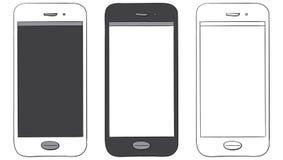 Ensemble tiré par la main d'icône de vecteur de téléphone portable Photo libre de droits