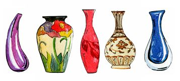 Ensemble tiré par la main d'illustration d'aquarelle de vases à fleur stylisés colorés illustration libre de droits