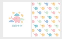 Ensemble tiré par la main d'illustration de fête de naissance mignonne Petits carte et modèle d'éléphants de couleurs en pastel illustration libre de droits