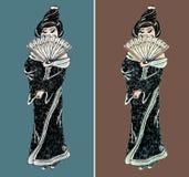 Ensemble tiré par la main d'illustration de geisha Image libre de droits