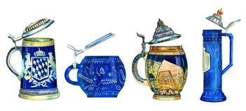 Ensemble tiré par la main d'illustration de quatre tasses en céramique de bière bavaroise différente traditionnelle avec des chap Photo stock