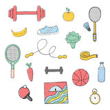 Ensemble tiré par la main d'illustration de vecteur d'éléments de forme physique et de sport, Photographie stock libre de droits