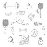 Ensemble tiré par la main d'illustration de vecteur d'éléments de forme physique et de sport, Images libres de droits
