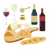 Ensemble tiré par la main d'illustration de vin et de fromage illustration stock