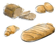 Ensemble tiré par la main de boulangerie de style de croquis de vintage Boulangerie décorative tirée par la main de pain Illustra Photos stock