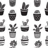 Ensemble tiré par la main de cactus dans les pots illustration stock