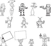 Ensemble tiré par la main de clipart de robot de 12 Photos libres de droits