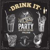Ensemble tiré par la main de croquis de cocktails alcooliques Illustration de vecteur Photographie stock