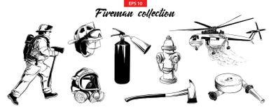 Ensemble tiré par la main de croquis de sapeur-pompier, extincteur, bouche d'incendie, hélicoptère, masque de gaz, firehose illustration stock