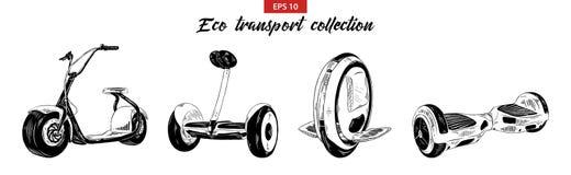 Ensemble tiré par la main de croquis de scooter, de gyroboard, de gyroscooter électrique et de mono-roue d'isolement sur le fond  illustration de vecteur