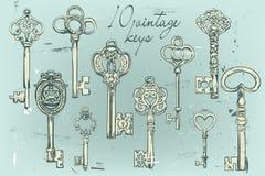 Ensemble tiré par la main de diverses clés de vintage illustration de vecteur