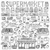 Ensemble tiré par la main de griffonnage de supermarché Images stock