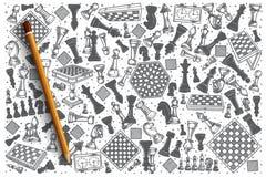 Ensemble tiré par la main de griffonnage de vecteur d'échecs Photographie stock