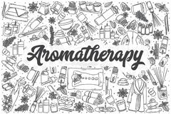 Ensemble tiré par la main de griffonnage de vecteur d'Aromatherapy illustration libre de droits
