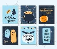 Ensemble tiré par la main de Halloween de cartes Illustration de vecteur illustration libre de droits