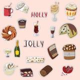 Ensemble tiré par la main de Holly Jolly d'autocollants de fête illustration stock