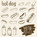 Ensemble tiré par la main de hot-dog Image stock