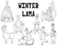 Ensemble tiré par la main de lamas monochromes mignons d'hiver illustration libre de droits
