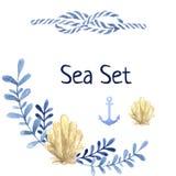 Ensemble tiré par la main de mer d'aquarelle Avec la plante aquatique Photographie stock