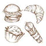 Ensemble tiré par la main de pâtisseries : hamburger, bagel, hot-dog Art de gravure panez les produits pour la bannière et la pub illustration libre de droits