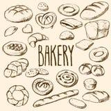 Ensemble tiré par la main de pains et de pâtisseries Images libres de droits