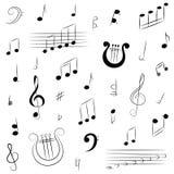 Ensemble tiré par la main de symboles de musique Clef triple de griffonnage, Bass Clef, notes et lyre Photographie stock