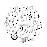 Ensemble tiré par la main de symboles de musique Clef triple de griffonnage, Bass Clef, notes et lyre disposés dans un Cirlce Ill Photographie stock libre de droits