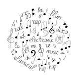 Ensemble tiré par la main de symboles de musique Clef triple de griffonnage, Bass Clef, notes et styles de musique disposés en ce Photo libre de droits