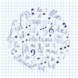 Ensemble tiré par la main de symboles de musique Clef triple de griffonnage, Bass Clef, notes et styles de musique disposés en ce Photo stock