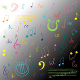 Ensemble tiré par la main de symboles de musique Clef triple de griffonnage coloré, Bass Clef, notes et lyre sur le fond monochro Image stock