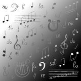 Ensemble tiré par la main de symboles de musique Clef triple de griffonnage monochrome, Bass Clef, notes et lyre Type de croquis Photo stock