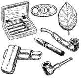 Ensemble tiré par la main de tabac de style d'encre de vecteur illustration de vecteur