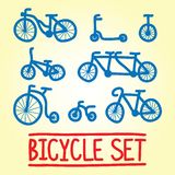 Ensemble tiré par la main de vecteur de bicyclette Photo libre de droits
