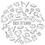 Ensemble tiré par la main de vecteur de fournitures scolaires Image libre de droits