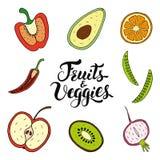 Ensemble tiré par la main de vecteur de fruits et de Veggies photo stock