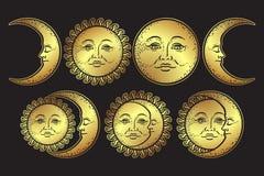 Ensemble tiré par la main du soleil et de croissant de lune d'art de conception instantanée chic de tatouage de Boho Vecteur anti Illustration Stock